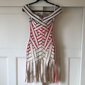 NEW $1495~HERVE LEGER~Portrait Neck Bandage Dress!